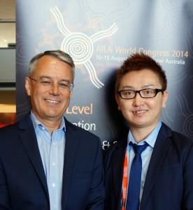 TIRF Trustee Nick Saville (left) with Nick Zhiwei Bi, 2013 DDG Recipient
