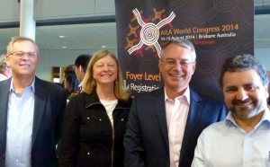 TIRF Trustees at the 2014 AILA Congress, from left to right, Michael Carrier, Jodi Crandall, Nick Saville, and Joe Lo Bianco
